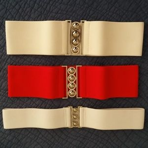 3 Stretchy Cinch Belts- Size Small